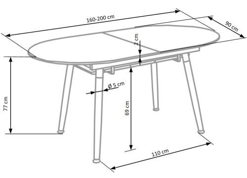 Wymiary stołu Caliber Halmar