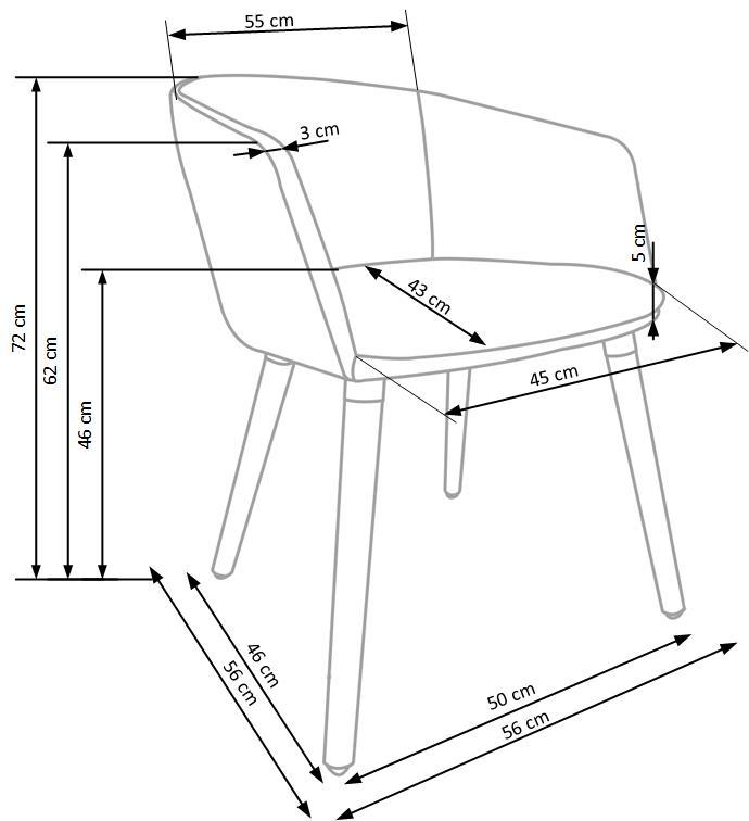 Wymiary krzesła K266