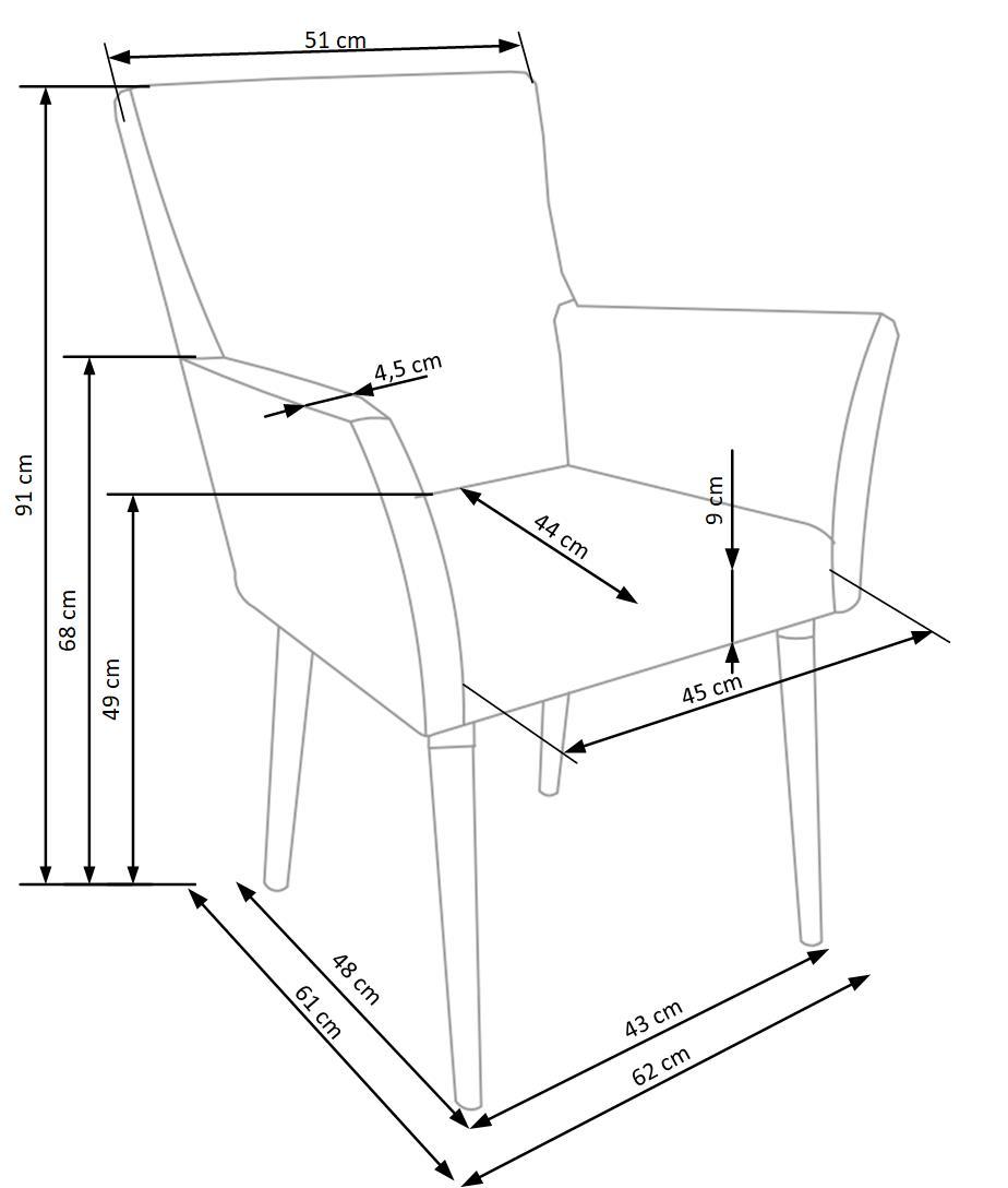 Wymiary krzesła K274