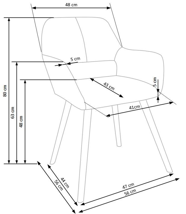 Wymiary krzesła K283