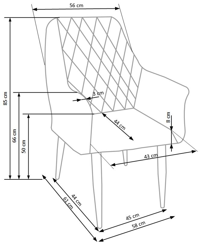 Wymiary krzesła K287