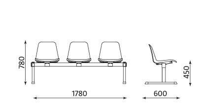 Wymiary ławki Beta-3 Nowy Styl