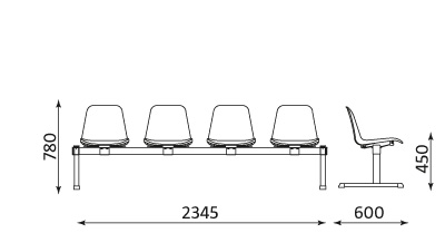 Wymiary ławki Beta-4 Nowy Styl