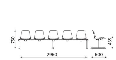Wymiary ławki Beta-5 Nowy Styl