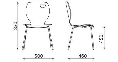 Wymiary krzesła Cafe IV Nowy Styl