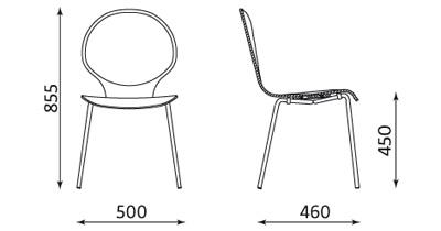 Wymiary krzesła Cafe VI Nowy Styl