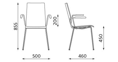 Wymiary krzesła Cafe VII ARM Nowy Styl