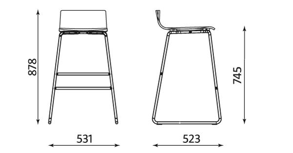 Wymiary krzesła Cafe VII Hocker Nowy Styl