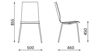 Wymiary krzesła Cafe VII Nowy Styl