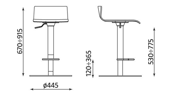 Wymiary krzesła Cafe VII Up & Down Nowy Styl