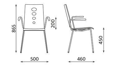 Wymiary krzesła Lantana ARM Nowy Styl