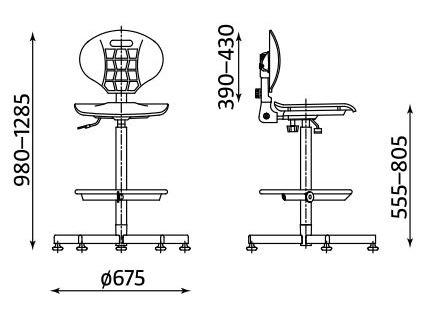 Wymiary krzesła Nargo RB-BL ST26-BL RTS firmy Nowy Styl