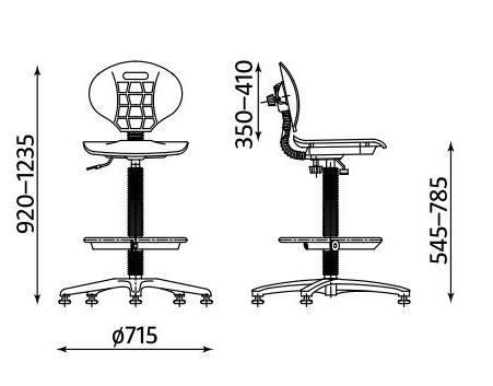 Wymiary krzesła Nargo RB-BL TS06 RTS firmy Nowy Styl
