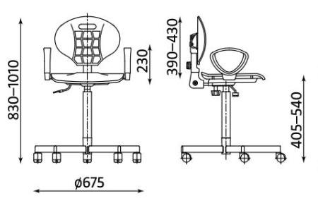 Wymiary krzesła Nargo ST26-BL GTP2 firmy Nowy Styl