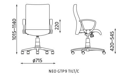 Krzesło biurowe pracownicze obrotowe NEO GTP9 TILT/C Nowy Styl