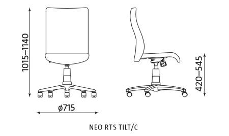 Krzesło biurowe pracownicze obrotowe NEO RTS TILT/C Nowy Styl