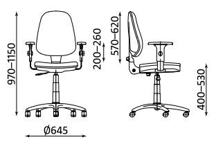 Wymiary krzesła biurowego Prestige Profil R3K2-NS Nowy Styl