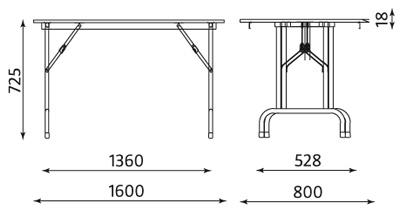 Wymiary stołu konferencyjnego Rico Table-2 1600x800 Nowy Styl