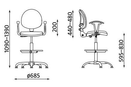 Wymiary krzesła Smart RB-CR ST02-CR GTP27 firmy Nowy Styl