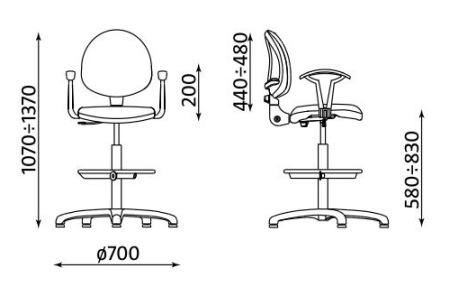 Wymiary krzesła Smart White GTP27 steel04 Ring Base chrome firmy Nowy Styl