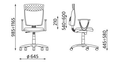 Wymiary krzesła biurowego Stillo 10 gtp18 Active-1 Nowy Styl