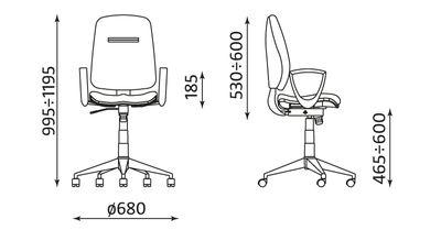 Wymiary krzesła biurowego Airgo-10 GTP Nowy Styl