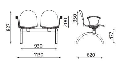 Wymiary ławki Amigo ARM-2 Nowy Styl