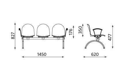 Wymiary ławki Amigo ARM-3 Nowy Styl