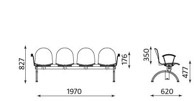 Wymiary ławki Amigo ARM-4 Nowy Styl
