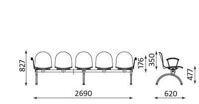 Wymiary ławki Amigo ARM-5 Nowy Styl