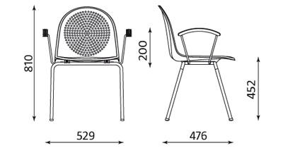 Wymiary krzesła Amigo 4L ARM Nowy Styl