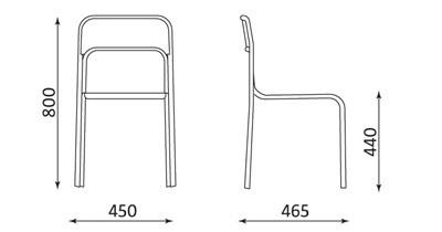 Wymiary krzesła Ascona Nowy Styl