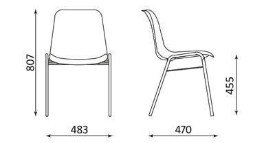 Wymiary krzesła Beta 4L-CR Nowy Styl
