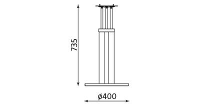 Wymiary podstawy stołu Bistro Table Nowy Styl