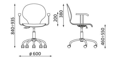 Wymiary krzesła Cafe VI GTP firmy Nowy Styl