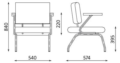 Wymiary krzesła CONECT II ARM Nowy Styl