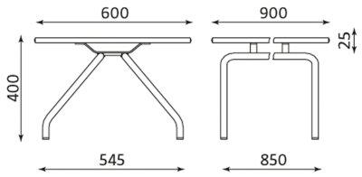 Wymiary stolika konferencyjnego CONECT II TABLE Nowy Styl
