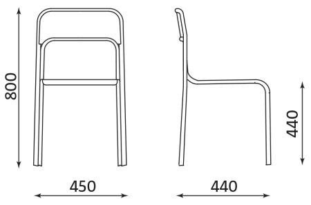 Wymiary krzesła Cortina Nowy Styl