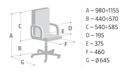Wymiary krzesła Energy ZIP Nowy Styl