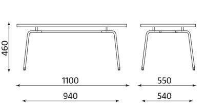 Wymiary stolika konferencyjnego HELLO TABLE DUO GL Nowy Styl