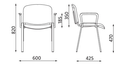 Wymiary krzesła ISO ARM Nowy Styl