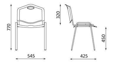 Wymiary krzesła ISO Plastic Nowy Styl