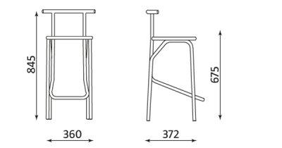 Wymiary stołka barowego Jola 78 Nowy Styl