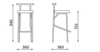 Wymiary stołka barowego Jola Nowy Styl