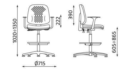 Wymiary krzesła Labo RB-BL TS06 GTP46 firmy Nowy Styl