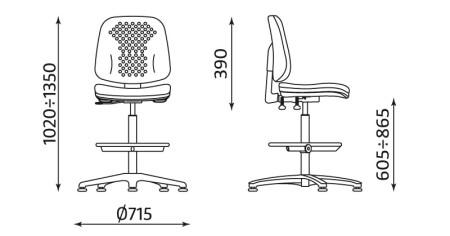 Wymiary krzesła Labo RB-BL TS06 RTS firmy Nowy Styl