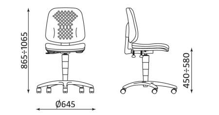 Wymiary krzesła Labo RTS TS02 firmy Nowy Styl