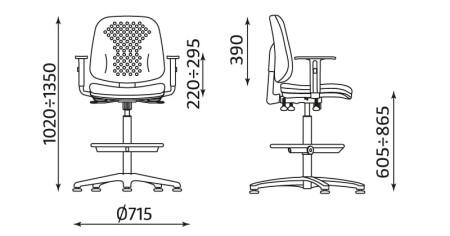 Wymiary krzesła Labo RB-BL TS06 R26S firmy Nowy Styl