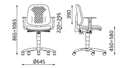 Wymiary krzesła Labo R26S TS02 firmy Nowy Styl
