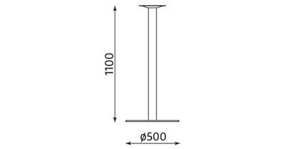 Wymiary podstawy stołu Lara Inox 1100 Nowy Styl